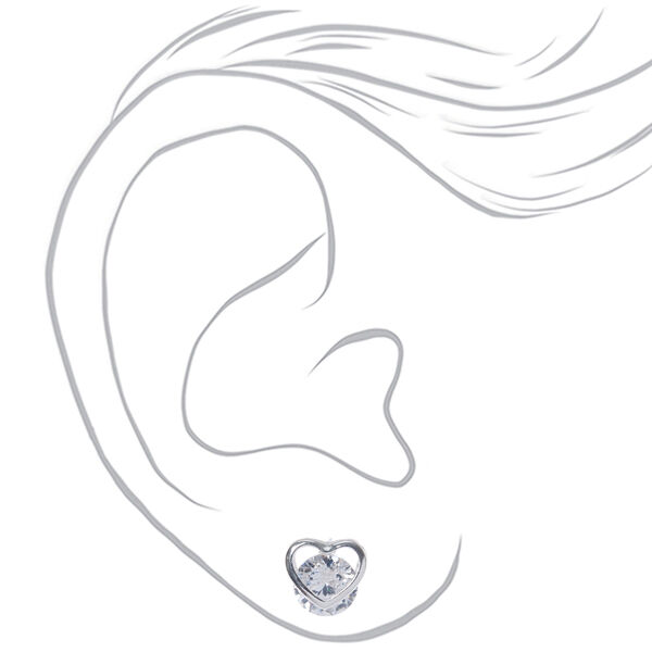 Claire's - cubic zirconia 8mm round heart stud earrings - 2
