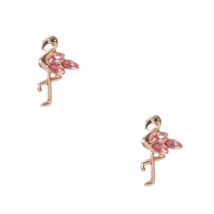 18kt Gold Plated Flamingo Stud Earrings,