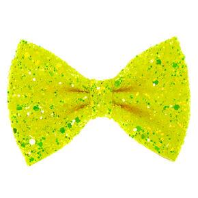 Neon Glitter Mini Hair Bow Clip - Yellow,