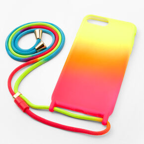 Neon Ombre Phone Case with Strap - Fits iPhone 6/7/8 Plus,