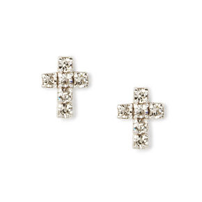 Sterling Silver Embellished Cross Stud Earrings,