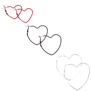 Red, Black, Silver Graduated Heart Hoop Earrings - 3 Pack,