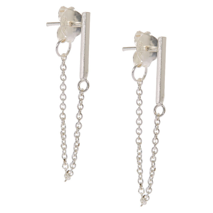 925 Sterling Silver Drop Chain Front And Back Earrings