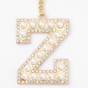 Gold Bling Initial Pom Pom Keyring - Pink, Z,