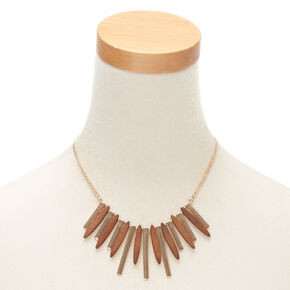 Gold Wooden Bar Statement Necklace,