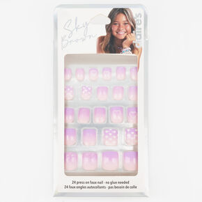 Sky Brown™ Heart Ombre Faux Nails – Pink, 24 Pack,