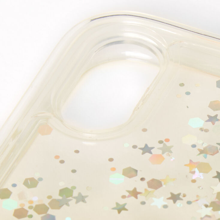 Gold Glitter Star Liquid Fill Phone Case - Fits iPhone XR,