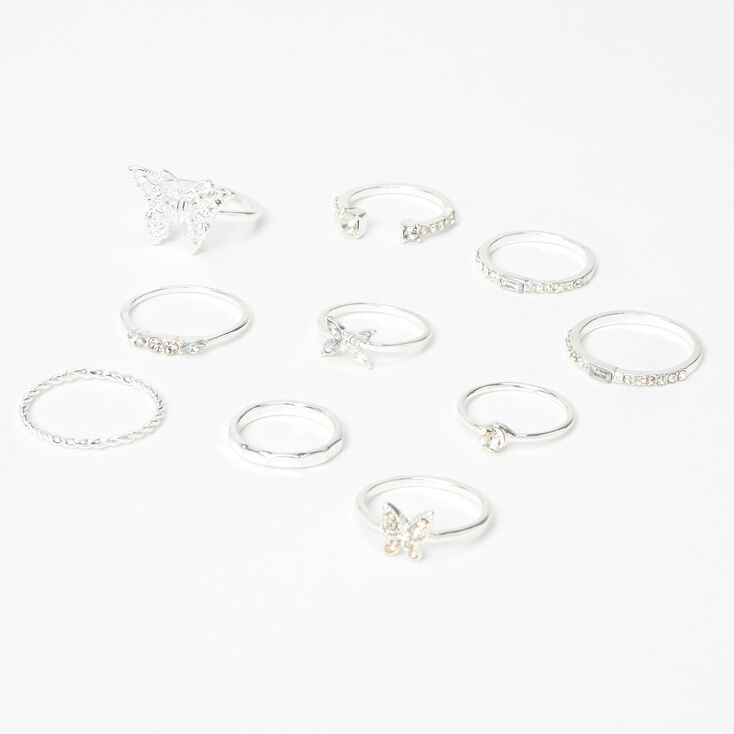 Silver Mixed Butterfly Rings - 10 Pack,