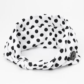 Claire's Club Polka Dot Button Headwrap,