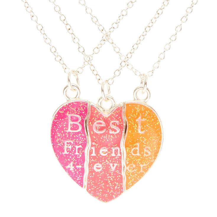 Neon Heart Best Friend Forever Necklace Set Claires