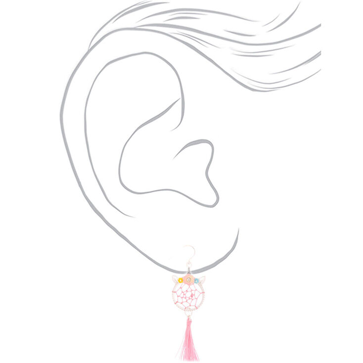 """Silver 2"""" Unicorn Dreamcatcher Drop Earrings - Pink,"""