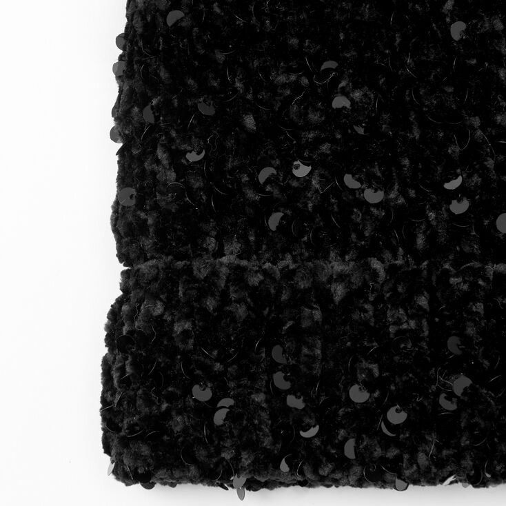Sequin Pom Pom Beanie - Black,