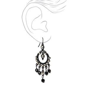 "Jet Black 2.5"" Vintage Rhinestone Beaded Chandelier Drop Earrings,"