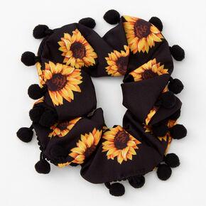Pom Pom Trim Sunflower Hair Scrunchie - Black,
