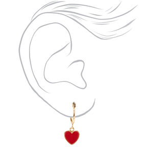 Gold Heart Stud & Hoop Earrings - 6 Pack,