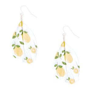 "Go to Product: Silver 2"" Lemon Feather Drop Earrings - Yellow from Claires"