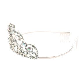 Claire's Club Crystal Heart Swirl Tiara - Silver,