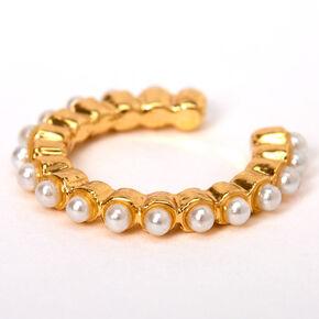 Manchette d'oreille à rangée simple de perles d'imitation couleur dorée,