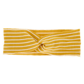 Striped Ribbed Twisted Headwrap - Mustard,