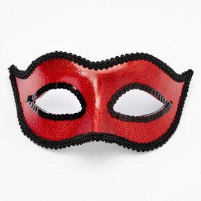 Lace Trim Glitter Skinny Devil Mask - Red,