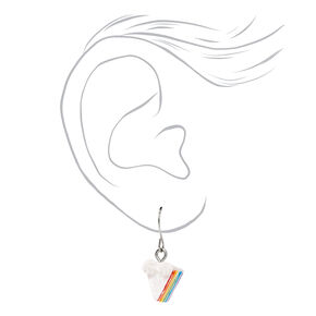"Silver 0.75"" Rainbow Cake Drop Earrings,"