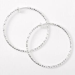Silver 40MM Textured Clip On Hoop Earrings,