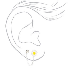 Sterling Silver Daisy Connector Chain Stud Earrings,