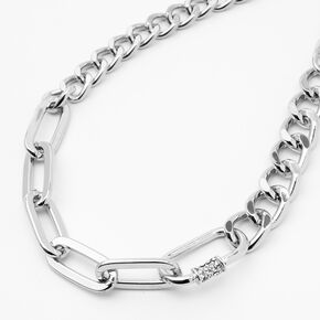 Silver Mixed Chain Link Necklace,