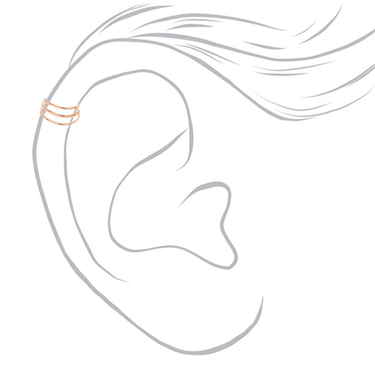 Rose Gold Triple Wire Band Ear Cuff,