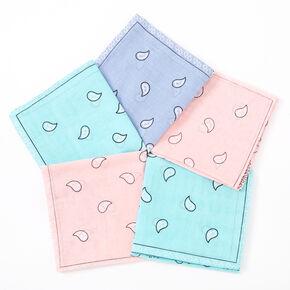 Pastel Paisley Bandana Headwraps - 5 Pack,