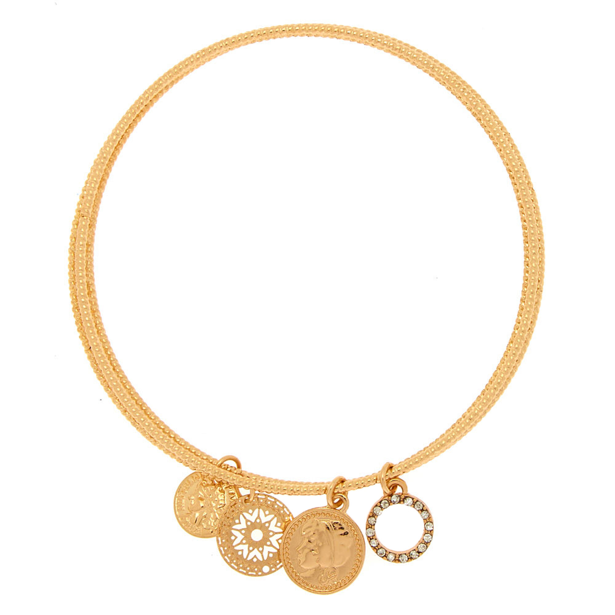 Gold Coin Filigree Charm Bangle