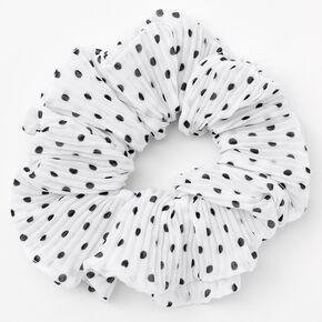 Medium Pleated Polka Dot Hair Scrunchie - White,