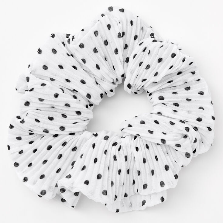 Medium Pleated Polka Dot Hair Scrunchie - White,