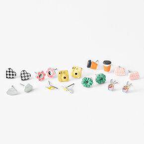 Good Vibes Coffee Stud Earrings - 9 Pack,
