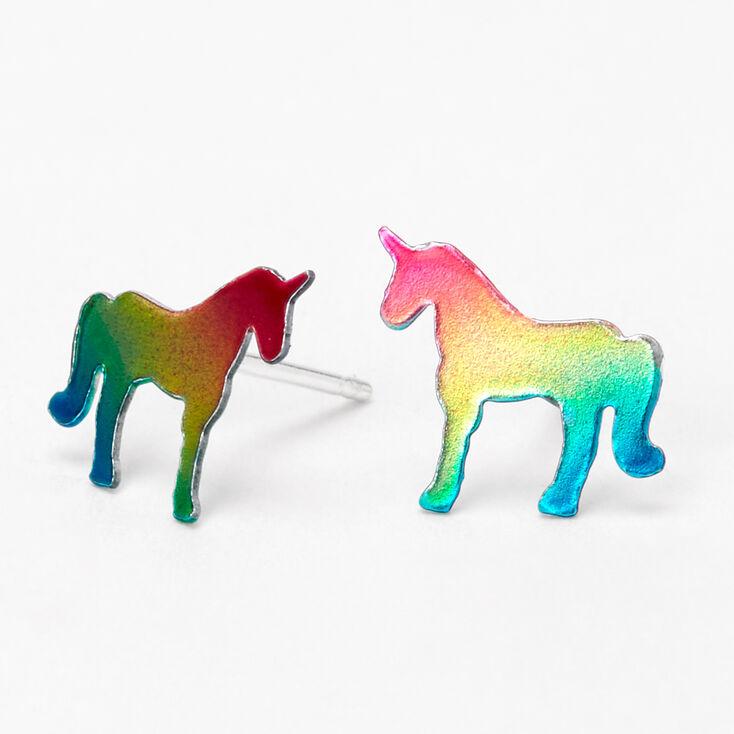 Sterling Silver Rainbow Unicorn Stud Earrings,