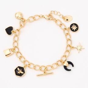 Bracelet à breloques en émail noir et chaîne couleur dorée,