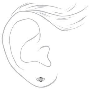 Clous d'oreilles planètes décorées couleur argentée,