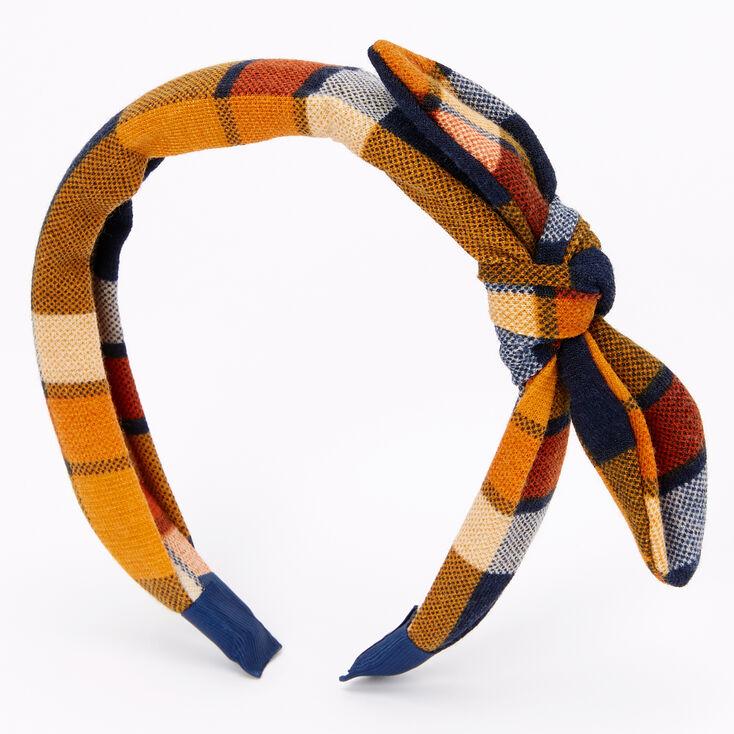 Serre-tête à nœud noué motif écossais - Orange,