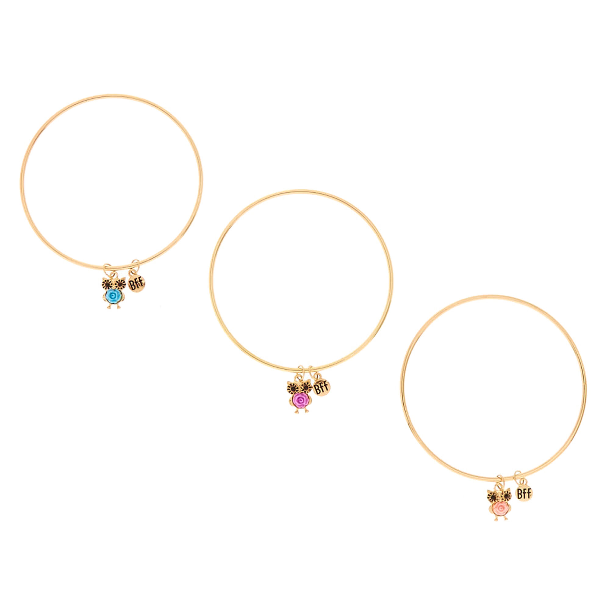 Best Friends Gold Tone Owl Charm Bangle Bracelets
