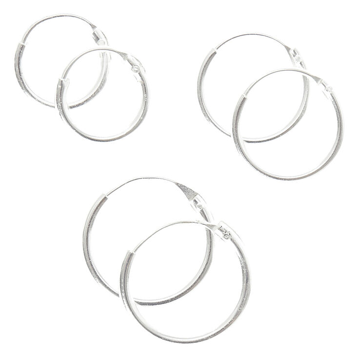 Sterling Silver Smooth Hoop Earrings 3 Pack