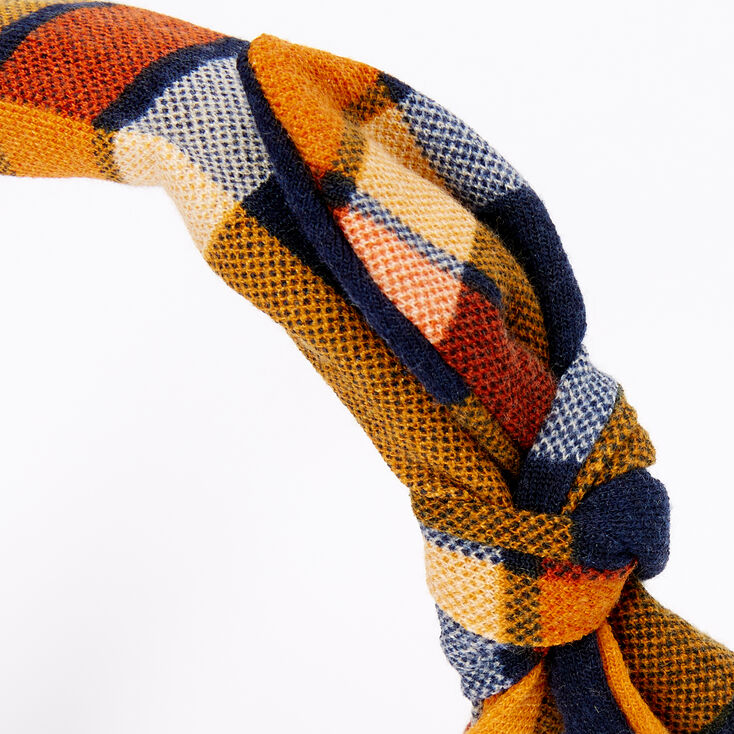 Plaid Knotted Bow Headband - Orange,
