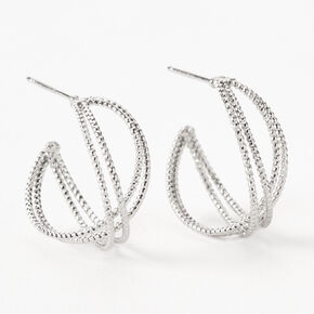 Silver 20MM Twisted Laser Cut Hoop Earrings,