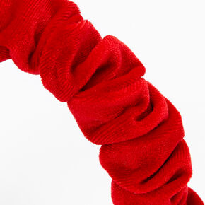 Ruffled Velvet Headband - Red,