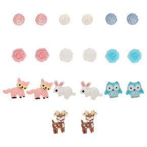 Flora & Fauna Stud Earrings - 10 Pack,