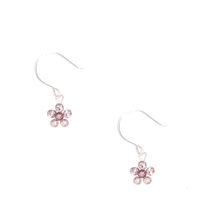 Sterling Silver Crystal Daisy Drop Earrings - Purple,