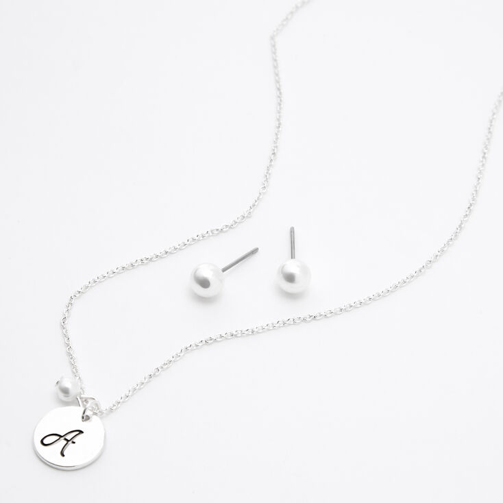 Silver Initial Pearl Jewellery Set - A, 2 Pack,