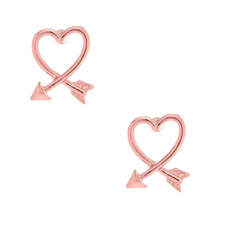 Pink Arrow Heart Stud Earrings Claire S Us
