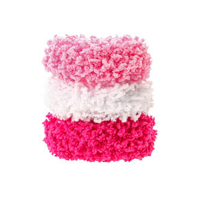 Small Pretty Pink Fuzzy Hair Scrunchies - 3 Pack,