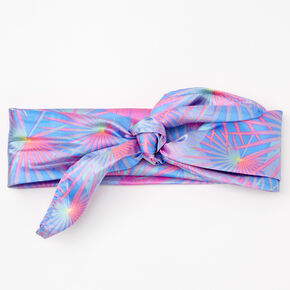 Palm Leaf Print Bandana Headwrap - Blue,