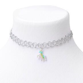 Claire's Club Tattoo Choker Necklace with Unicorn Charm - Silver,